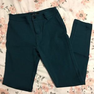 F21 High-Waisted Teal Jeggings